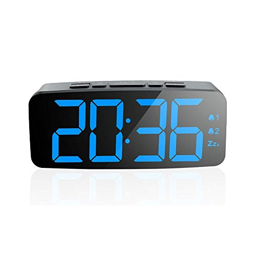 PINGKO Digital Alarm Clock-Large Smart LED Display, Snooze Function,Adjustable Brightness -Small and Light for Travel,Desk or Bedroom