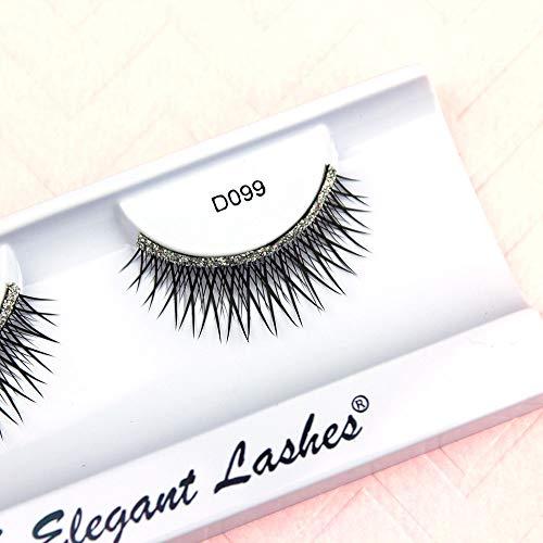 Elegant Lashes D099 (Natural Length Criss-Cross False Eyelashes with Silver Glitter Band)