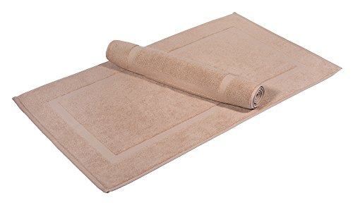 Washable Premium 100% Turkish Cotton Bath Mats | 2-Piece Set, Banded Floor Mats (20x34) - Beige (S2)