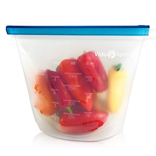 Reusable Silicone Food Storage Bags (4 Pack), Eco Friendly, Food Grade, Airtight and Leak Proof