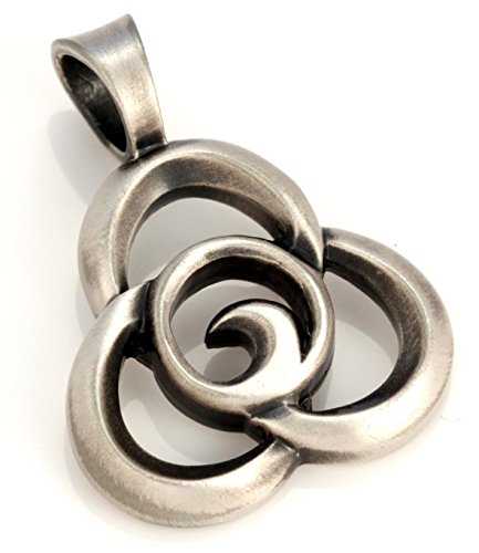 Satin Silver Heart - Bico Trilogy Pendant (E123) - interwinding of the heart, mind and spirit - Satin Silver Finished