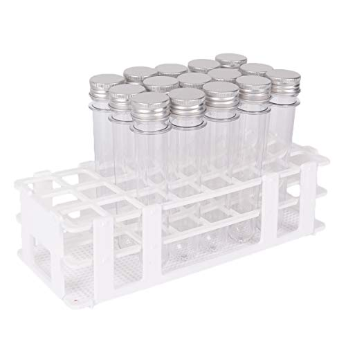 15 Pack Test Tubes with Rack - Buytra 40ml Clear Plastic Test Tube Gumball Candy Tube with Caps 25x140mm - 24 Holes Detachable Test Tube Rack Holder for 25mm - Plastic Test
