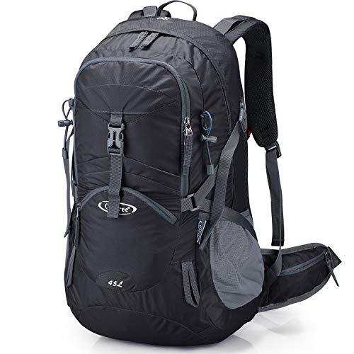 G4Free Black Hiking Backpack for Men Backpacking Backpacks with Rain Cover Waterproof Bladder for Men Trekking Outdoor Camping Travel (Black)