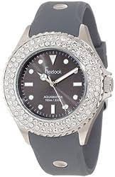 Freelook Women's HA9036-7 Grey Band & Dial Ss Case Swarovski Bezel Watch