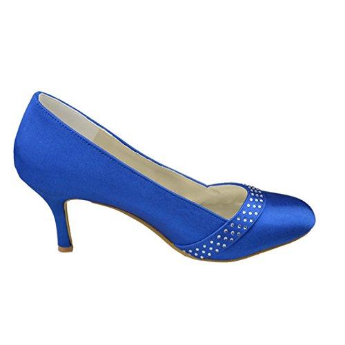 Minitoo Y163 Womens Kitten Heel Satin Evening Party Bridal Wedding Crystals Pumps Blue-8cm Heel d8V0RycR