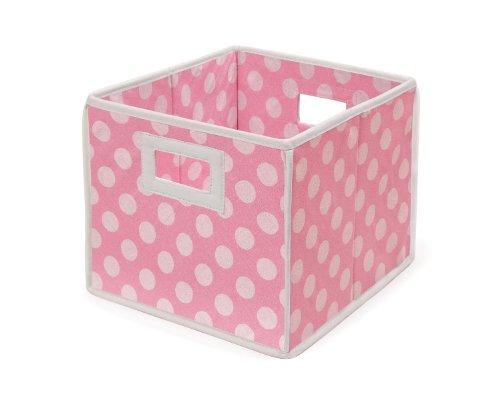 Badger Basket Folding Nursery Basket/Storage Cube, Pink Dot (Fabric Basket Badger)
