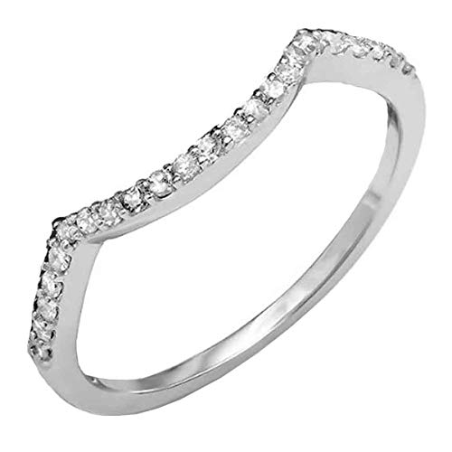 Dazzlingrock Collection 0.15 Carat (ctw) 18K Round Diamond Ladies Wedding Contour Guard Ring, White Gold, Size 7