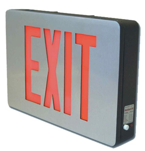 Sure-Lites CX62 LED Die Cast Exit Sign, Brushed Aluminum Black Housing, Double Face, Red and Green Letters