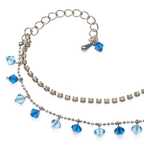Rhodium Plated Brass Ocean Blue Faceted Swarovski Crystal and Cubic Zirconia CZ Anklet