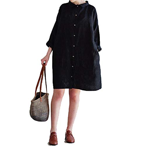 Casual Loose Knee Length Dress Collar Long Sleeve Cotton Dresses Vestidos Plus -