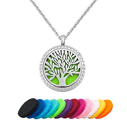 LoEnMe Jewelry Tree of Life Family Crystal Essential Oil Nec
