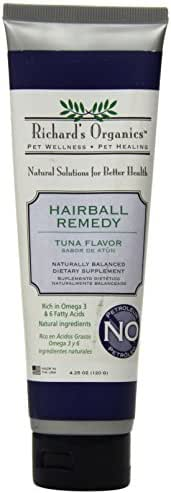 Richard's Organics Hairball Remedy – Tuna Flavor - Naturally Eliminates and Prevents Hairballs in Cats – Promotes Healthy Skin and Coat - Natural Ingredients, 100% Petroleum and Petrolatum-Free (4.25 oz. tube)