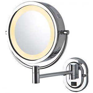 Jerdon HL165CD 8-Inch Lighted Wall Mount Direct Wire Makeup Mirror with 5x Magnification, Chrome Finish by Jerdon