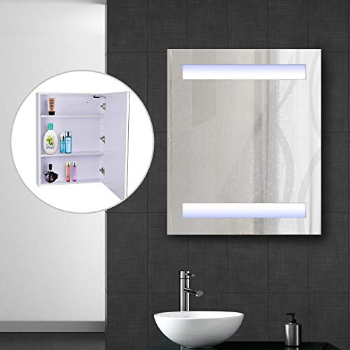(Alek...Shop Modern Design Make-up Mirror Medicine Cabinet w/Storage 3 Shelves Bathroom Door Button LED Wall Mounted Illuminated Mirror Any Room Decoration)