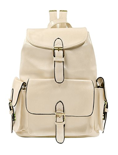 uxcell Woman Buckled Drawstring Flap-Top Imitation Leather Backpack Beige