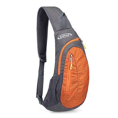 G4Free Sling Bags Men Shoulder Backpack Mini Chest Day Bag Small Cross Body (Grey-Orange) ()