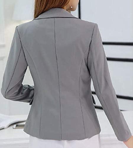 Women's Blazer Autumn 3/4 Lapel Blazer Fashion Sleeve Solid Color Fashionable Completi Button Ruffle Outerwear Young Fashion Coat (Color : Grau, Size : M)