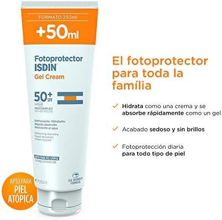 Isdin Gel Cream SPF 50+ 250 ml Crema Solar Corporal hidratante + Fusion Water SPF 50 - Protector solar facial de fase acuosa para uso diario, 50 ml