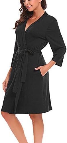 BLUETIME Women Robe Soft Kimono Robes Cotton Bathrobe Sleepwear Loungewear Short – The Super Cheap