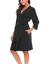 Women Robe Soft Kimono Robes Cotton Bathrobe Sleepwear Loungewear Short 148f93681