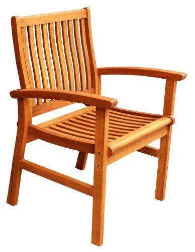 - LuuNguyen Hawaii Outdoor Hardwood Dining Arm Chair Natural Wood Finish