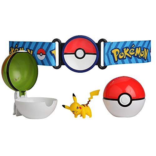 Pokemon Clip 'N' Go Poke Ball Belt Set, comes with Poké Ball, Nest Ball and 2 inch Pikachu figure.