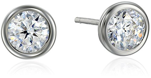 Sterling Martini Zirconia Solitaire Earrings