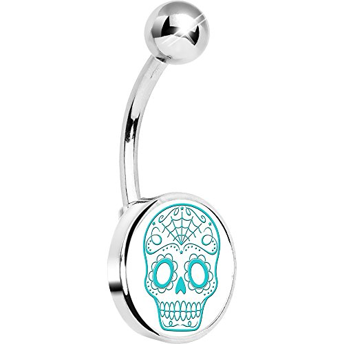 (Body Candy Unisex Adult White Greenish Blue Sugar Skull Belly Button Ring)