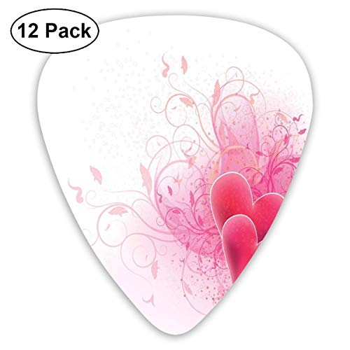 - Guitar Picks 12-Pack,Love Valentines Day Themed Hearts Floral Arrangement Romantic Amour Illustration