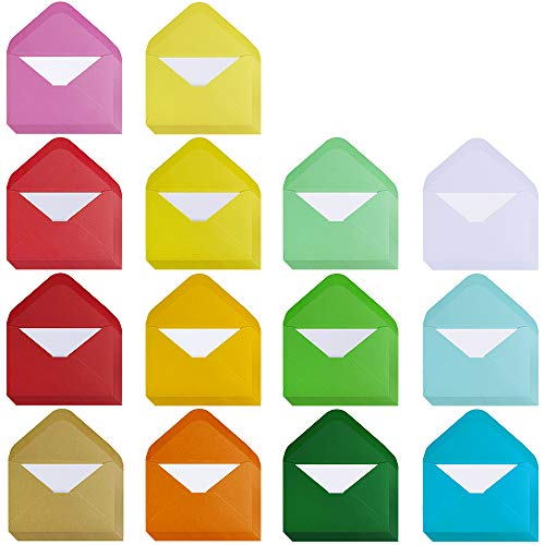 Supla 140 Sets Colorful Mini Envelopes with White Blank Business Cards Note Cards 14 Colors Small Gift Card Tiny Envelopes Pocket Envelopes Bulk 4