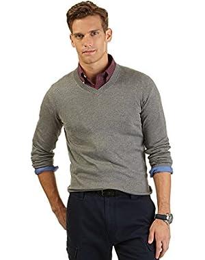 Mens Modal Blend V-Neck Pullover Sweater Gray XL