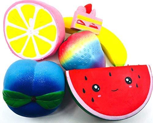 Boopy Squishies - Slow Rising Jumbo Squishies Pack of 5 Silly Fruits and A Bonus Cake - Squishy Set has Kawaii Watermelon, Cute Lemon, Strawberry, Peach, Big Banana - Boys Girls Toys - Stress Relief