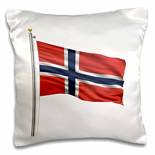 3dRose Carsten Reisinger Illustrations - Flag of Norway on a flag pole over white Norwegian - 16x16 inch Pillow Case (pc_157236_1) (Norway Pc)