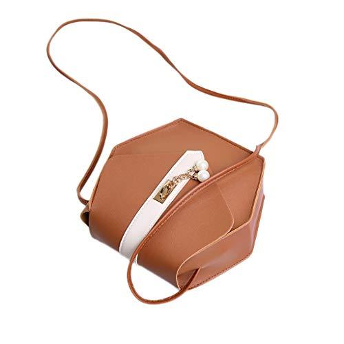 (Teen Girls Ladies Fashion Pearl Messenger Tote Handbag, Womens Purse Phone Makeup Shoulder Crossbody Bag Satchels (Brown, One))