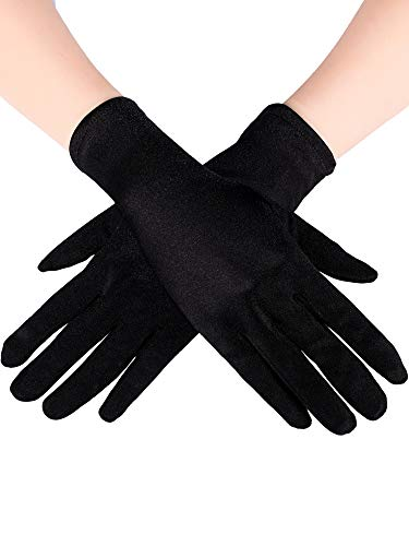 (Sumind Short Satin Gloves Wrist Length Gloves Women's Gown Gloves Opera Wedding Banquet Dress Glove for Party Dance (Black, L Size))