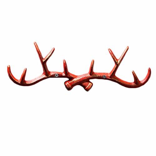 Vintage Cast Deer Antlers Wall Hooks (10 Hooks) Coat Rack Decorative for Hanging Hat Scarf Bag Key Clothes Bathroom Kitchen Towel Holder Christmas Reindeer Deer Hanger Wall Wedding Gift (Red)