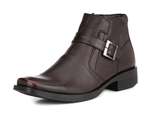 Mactree Men's Leather Monk Strap Ankle with Zip Casual Dress Boots 2931 9 - Lace Boots Leather Up Biker