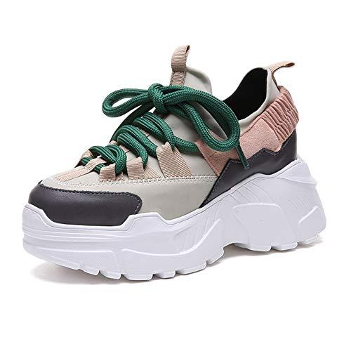 U-MAC Womens Platform Wedge Sneakers Breathable Mesh Athletic Walking Shoes Hidden Heel Casual Height Increasing Boots Beige