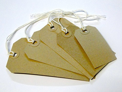 100 x Manilla Buff Strung Tags Tickets 120mm 60mm Luggage Labels ()