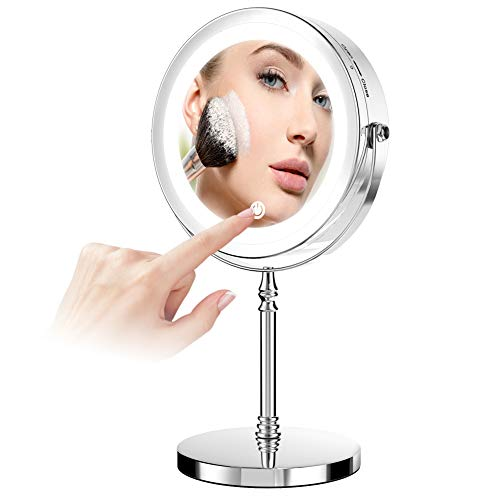 Led Makeup Mirror,7 inch Double-Sided 1x 10x Magnification Desktop Vanity Mirror with 360-degree Rotation USB Rechargeable Mirror