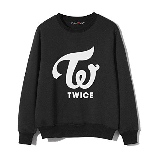 メッセージ血統規定Fanstown kpop 韓流人気グループ TWICE 黒い チームロゴ メンバー名と誕生日の応援スウェット