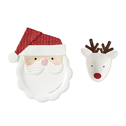 - Mud Pie 4115025 Santa Sweets Cookie Plate Set, One Size, White/Red