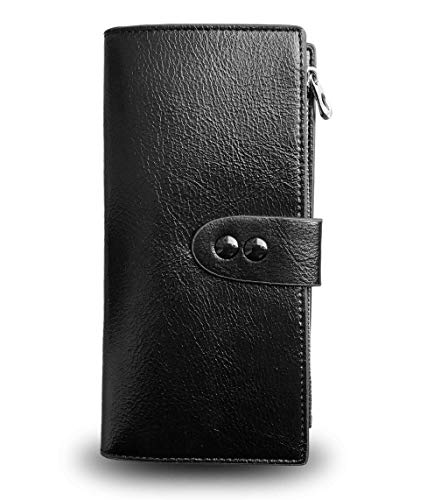 Ladies Slim Bifold Leather Wallet Rfid Wallets for Women Card Coin Zip Clutch,Compact Thin Long (Black)