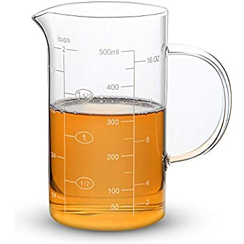 Clopare Glass Measuring Cup with Measurements, 2-Cup, High Borosilicate Clear Measuring Cups with Insulated handle, 16oz, 500ml
