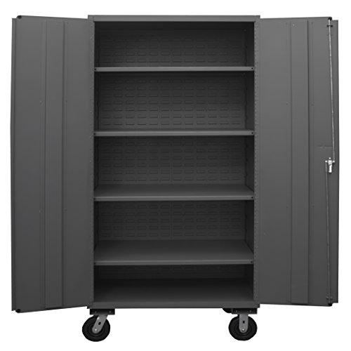 Durham 2502M-BLP-4S-95 Lockable Mobile Cabinet, 4 Adjustable Shelves, Flush Door Style, 48