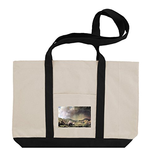 Spring Rain Valley Connecticut (Heade) Cotton Canvas Boat Tote Bag - Black ()