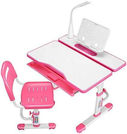 学習机セット 子供用 デスク・椅子セット 勉強机 学習デスク キッズデスクセット デスクチェアセット多機能子供子供研究テーブルデスクとチェアセット学校学生デスクブックスタンド高さ調節可能 供用机 学習机 机いすセット (Color : Pink)