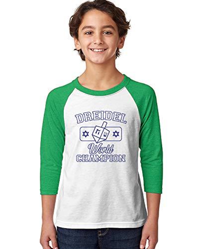 (SpiritForged Apparel Dreidel World Champion Youth 3/4 Raglan Shirt, Kelly/White Small)