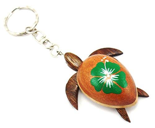 Turtle Keychain Hawaiian turtle key chain Turtle keychains Turtle Keyring Hibiscus Flower Keychain (Green)
