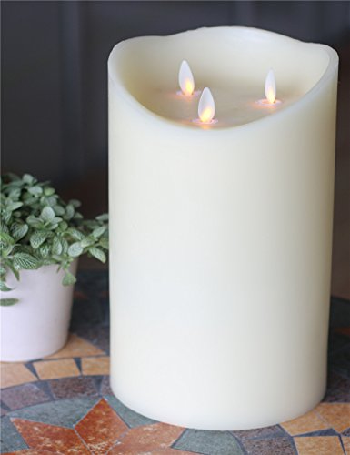 Dancing Flame Wax Pillar LED Candle with Timer and 10-key Remote, Height 12 Inch, ivory by NONNO&ZGF
